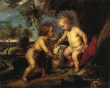 Christentum und Jesus Werke - The Christ Child and the Infant St John after Rubens Impressionist Theodore Clement Steele