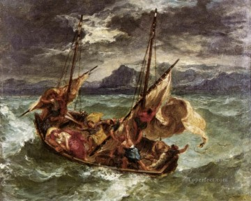Christentum und Jesus Werke - Christ on the Lake of Gennezaret romantische Eugene Delacroix