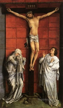 Christentum und Jesus Werke - Christus on the Cross with Mary and St John Rogier van der Weyden