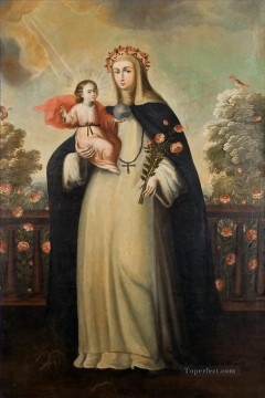 Christentum und Jesus Werke - Saint Rose of Lima with Child Jesus religiösen Christentum