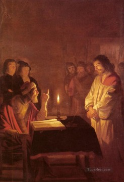 Christentum und Jesus Werke - Christ Before the High Priest nighttime candlelit Gerard van Honthorst