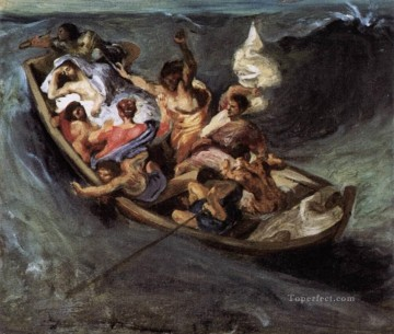 Christentum und Jesus Werke - Christ on the Lake of Gennezaret sketch romantische Eugene Delacroix