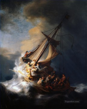 Christentum und Jesus Werke - Christ In The Storm On The Sea Of Galilee Rembrandt