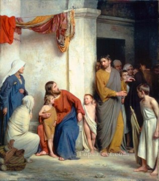 Kinder Malerei - Christus mit Kindern Religion Carl Heinrich Bloch