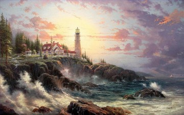 Seestücke Werke - Clearing Storms Thomas Kinkade Lighthouse Seenlandschaft