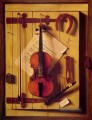 Stillleben Violine und Musik William Harnett