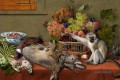 Still Life With Fruit Game Vegetables and Live Monkey Squirrel and a Cat Klassisches Stillleben