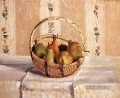 Still Life Apples And Pears In A Round Basket postImpressionismus Camille Pissarro