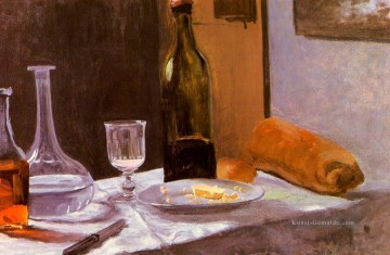 Still Life with Bottle Carafe Bread and Wine Claude Monet