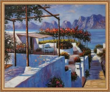 meer - Mittelmeer Landschaft Landschaft Seaside Beach 20x24 Zoll Framed USD195 Kostenloser Versand