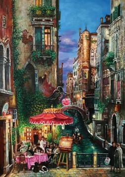 Inventa Werke - Roter Regenschirm Venedig 25x33 Zoll EURO346