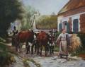 Rückkehr von den Feldern Bauernhof Leben Julien Dupre 53x43cm USD59