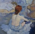 Frau an ihrer Toilette die sich durch Henri de Toulouse Lautrec 26x26 Zoll EURO90 wäscht
