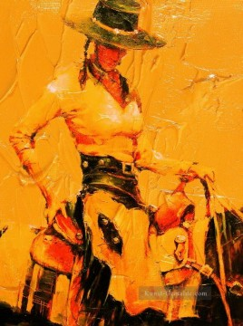 Originale von Toperfect Werke - red cowgirl with thick paints Originale Westernkunst