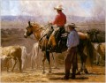 cowboys and their cattles at farm Originale Westernkunst