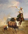 the cowheards and 3 cattles Originale Westernkunst