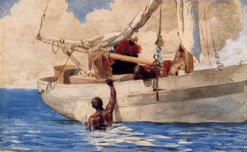 The Coral Divers Winslow Homer Aquarelle Ölgemälde
