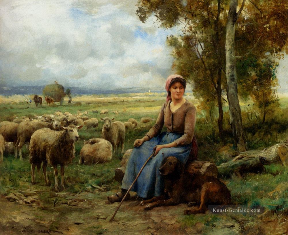 Landschaftsmalerei realismus  Schäferess Watching Over Her flock Leben Bauernhof Realismus ...