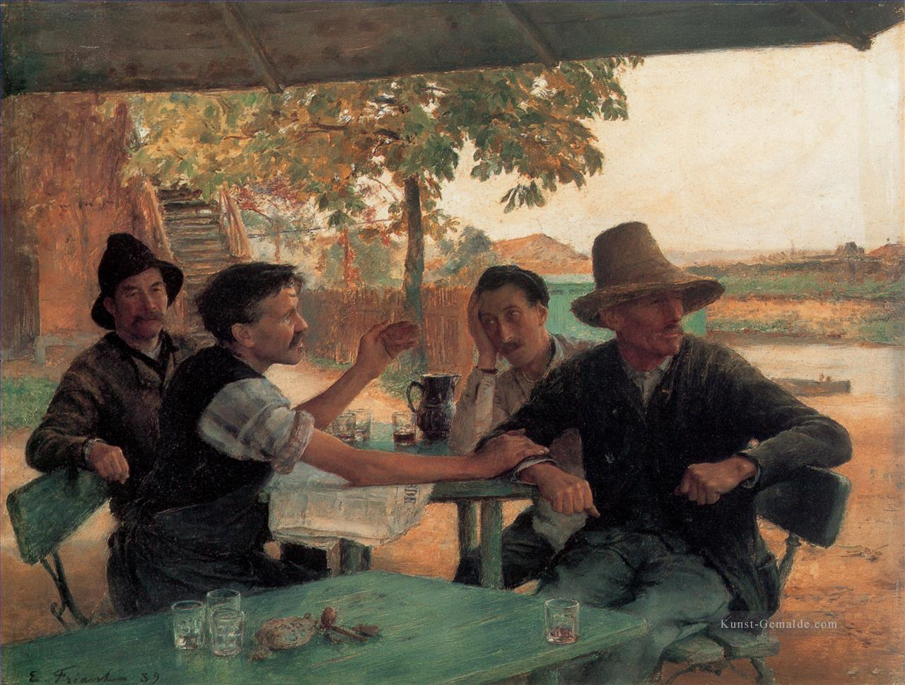 La Discussion politique Realismus Emile Friant Ölgemälde
