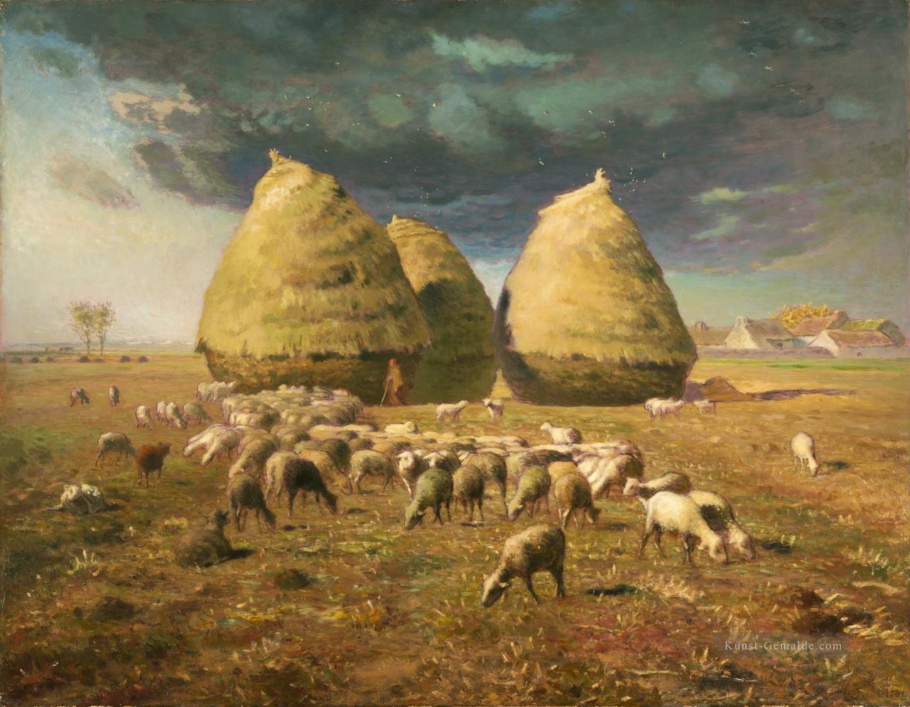Landschaftsmalerei realismus  Haystacks Autumn Barbizon Naturalismus Realismus Bauern Jean ...