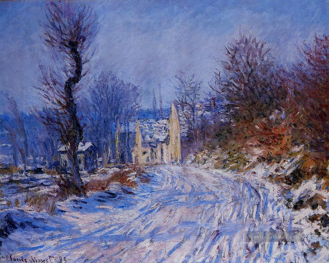 Straße nach Giverny im Winter Claude Monet Ölgemälde
