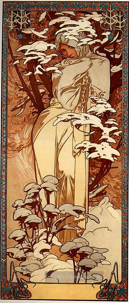 winter 1897 panel tschechisch jugendstil alphonse mucha gem lde mit l zu verkaufen. Black Bedroom Furniture Sets. Home Design Ideas