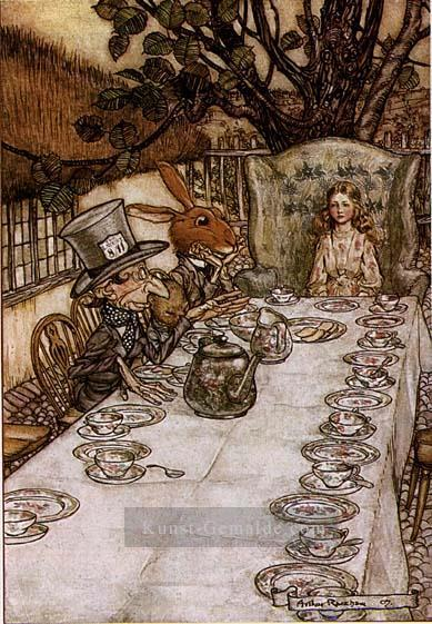 Alice im Wunderland A Mad Tea Party Illustrator Arthur Rackham Ölgemälde