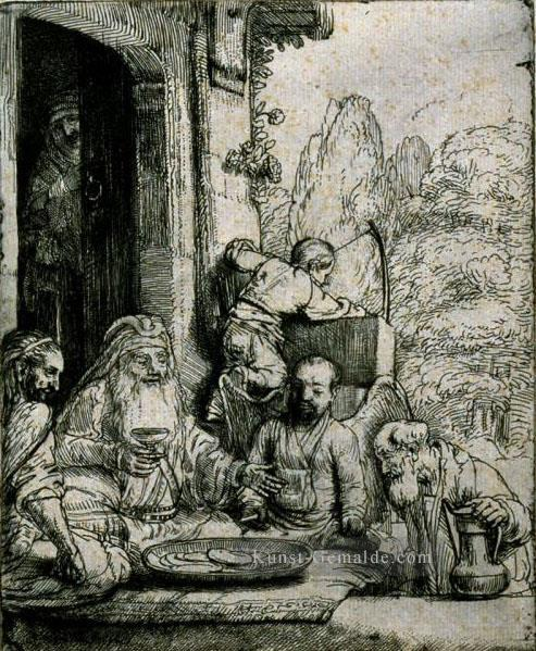Abraham Entertaining die Engel SIL Rembrandt Ölgemälde