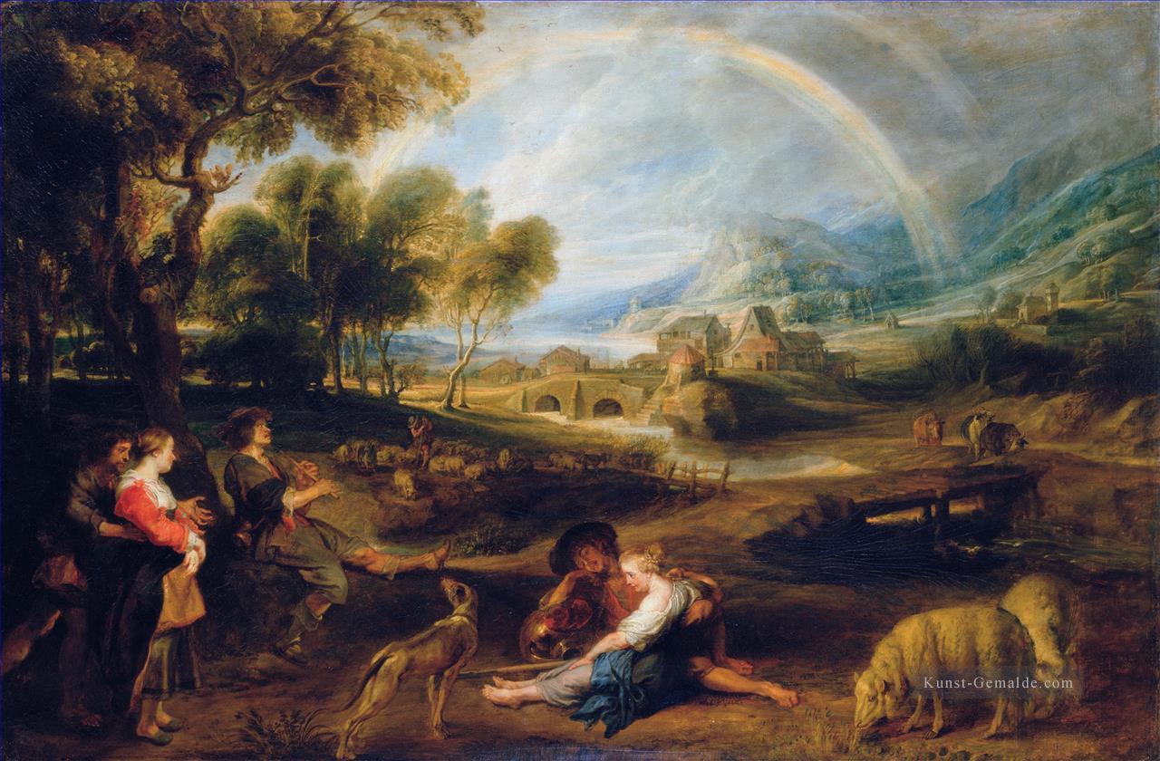 Landschaftsmalerei barock  Landschaft with a Rainbow 1632 Barock Peter Paul Rubens Gemälde ...