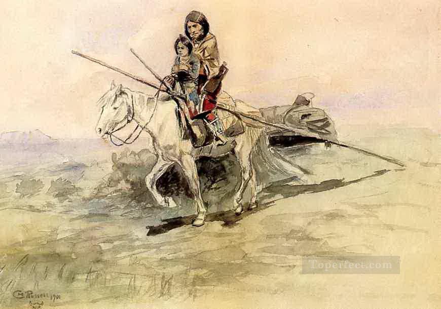 indianer zu pferd mit einem kind 1901 charles marion