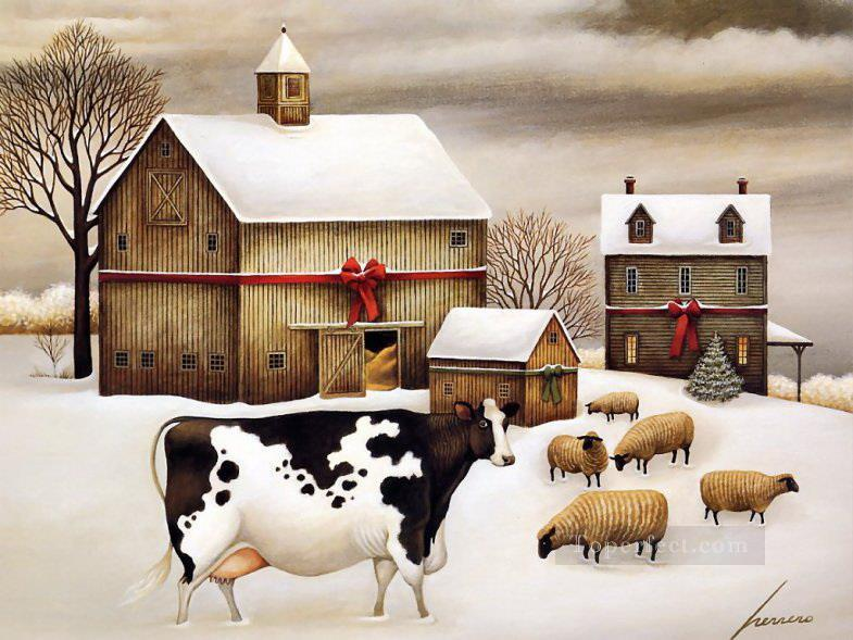 rinder und schaf im schnee dorf gem lde mit l zu verkaufen. Black Bedroom Furniture Sets. Home Design Ideas