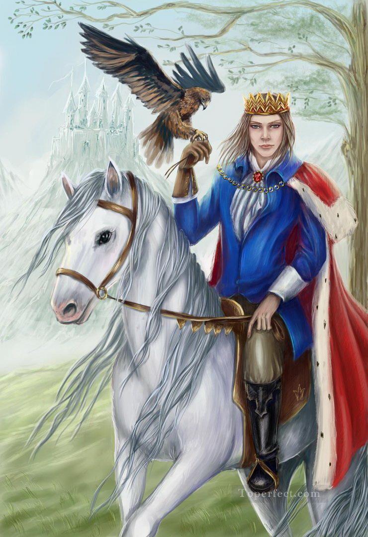 der Prinz auf weißem ein Pferd Gemälde mit öl zu verkaufen