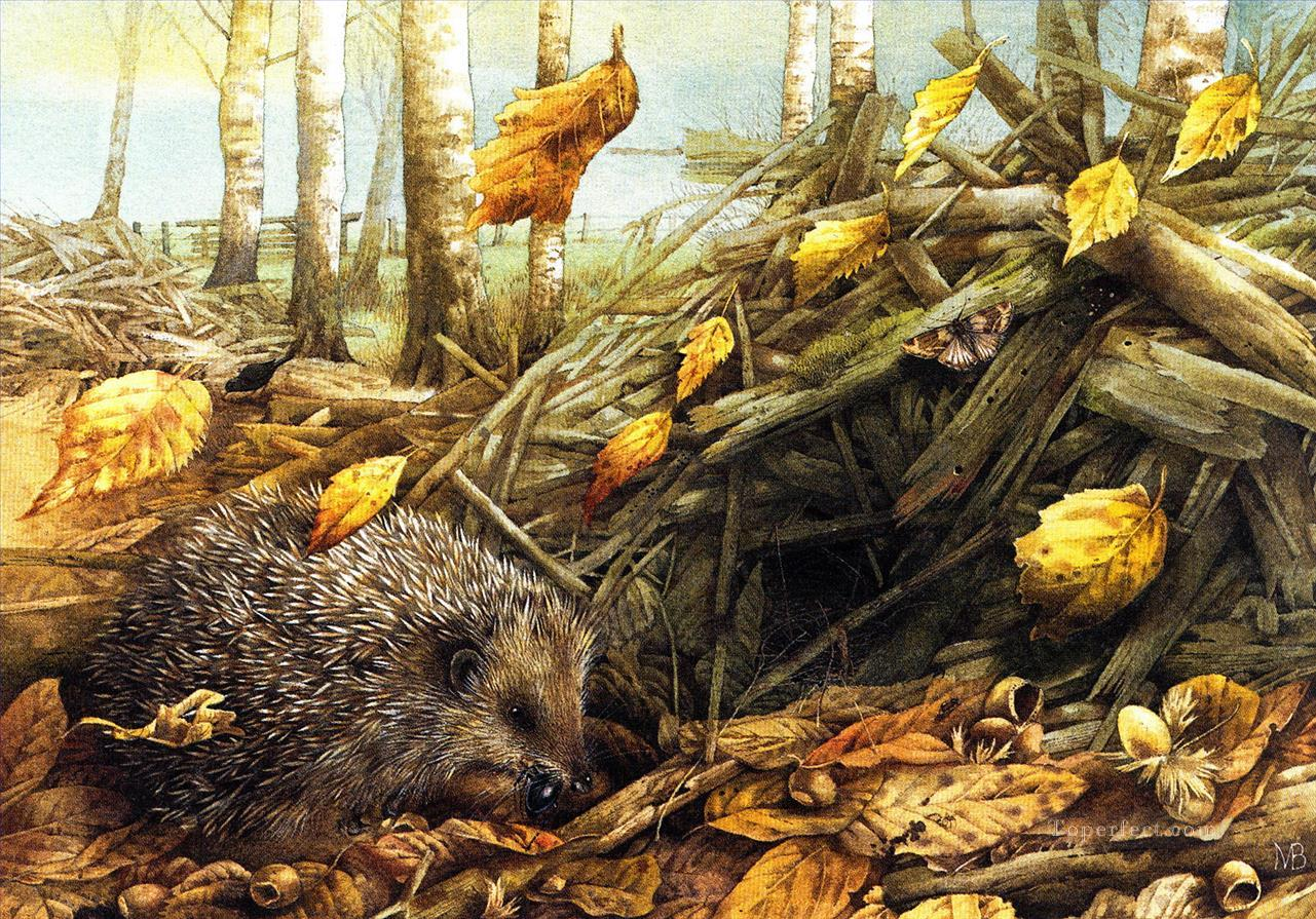 Marjolein Bastin Natur Herbst Igel Tiere Gemalde Mit Ol Zu Verkaufen