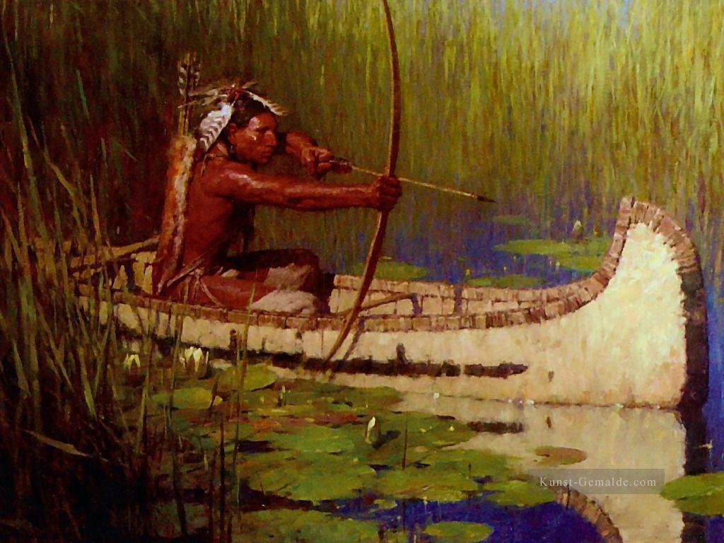 Ureinwohner Amerika Indianer Hunter in Kanu Pfeil und Bogen Gemälde ...