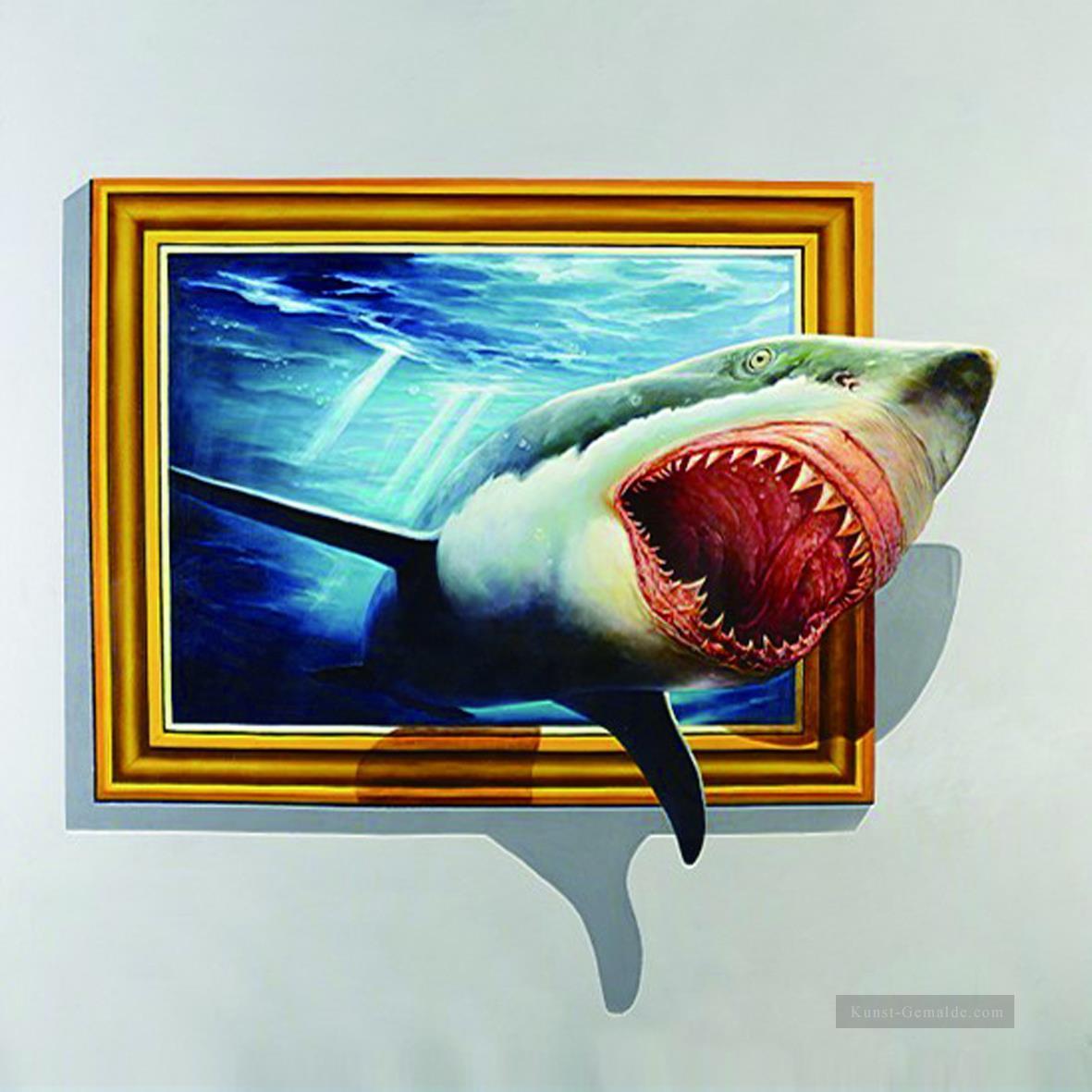 Hai aus dem Rahmen 3D Gemälde mit öl zu verkaufen