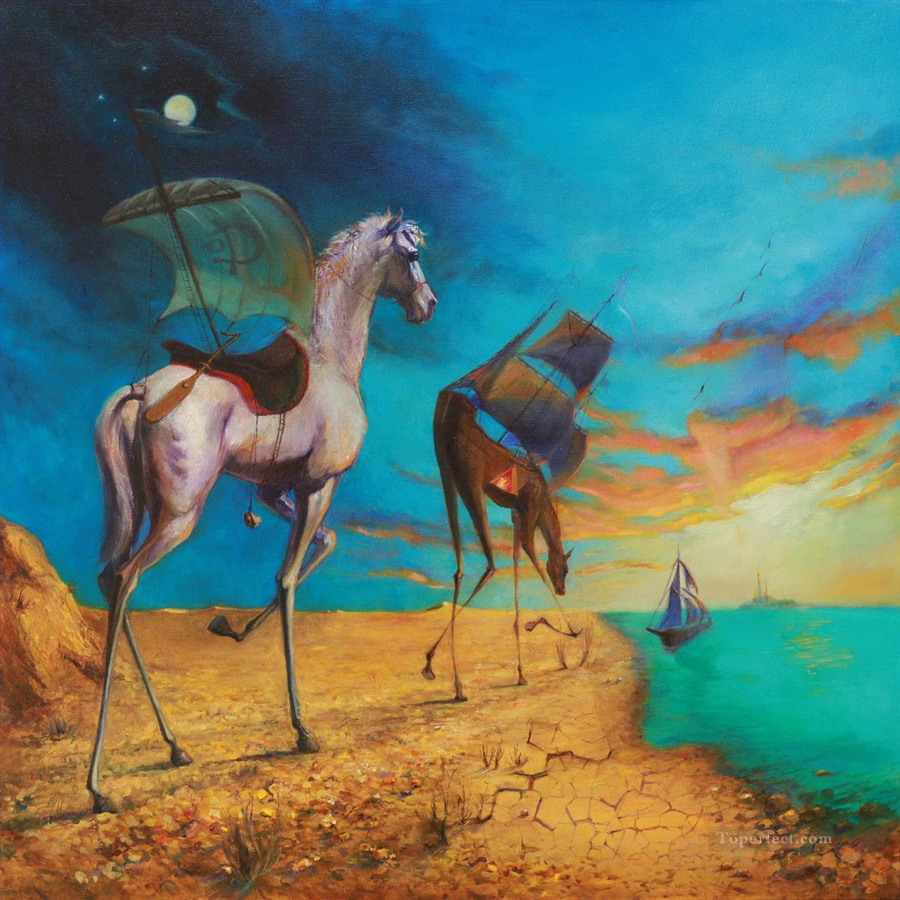 Landschaftsmalerei surrealismus  Surrealismus pferd to sea Fantasie Gemälde mit öl zu verkaufen