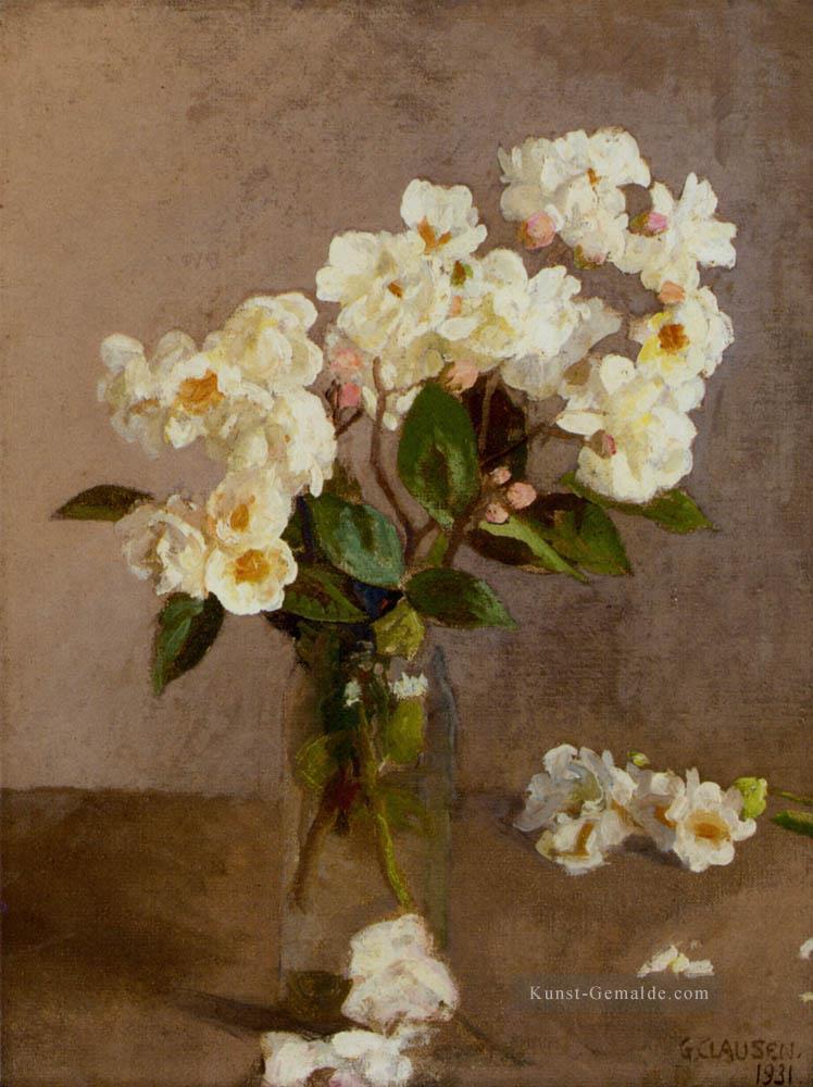 Kleine weiße Rosen moderne impressionistische Blumen Sir George ...