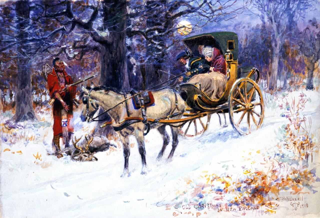 altes weihnachten in neu england 1918 charles marion russell weihnachten gem lde mit l zu verkaufen. Black Bedroom Furniture Sets. Home Design Ideas