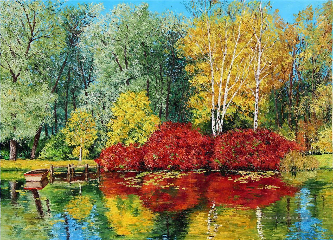 Herbst Teich Garten Lgemlde.